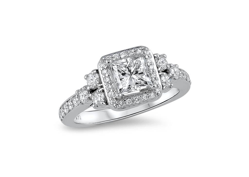 Princess cut diamond halo ring
