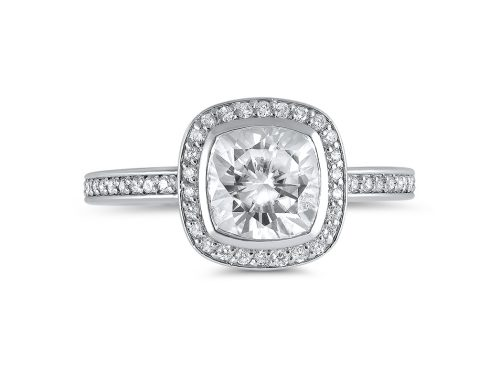 Cushion-cut halo ring